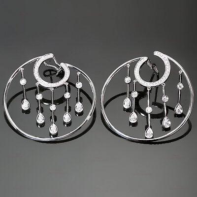 Stunning CHANEL La Pluie Diamond 18k White Gold Hoop Earrings