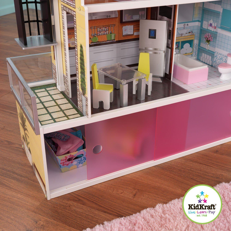 Kidkraft Beachfront Mansion Dollhouse Doll House Furniture Elevator Wooden Eur 136 48
