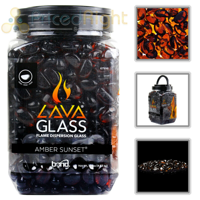 Gas Fireplace Amber Sunset Mini LavaGlass Firepit Dispersion Glass 10 lbs 67998