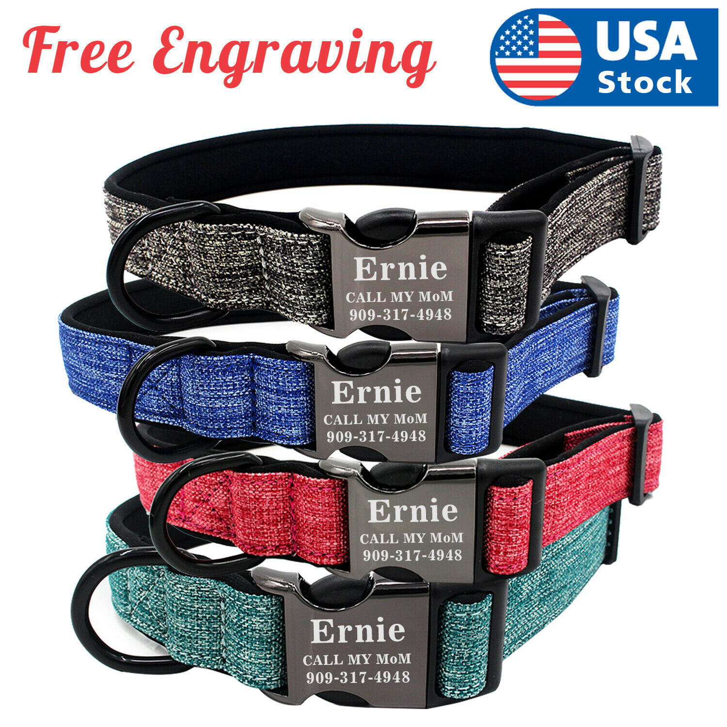 Personalized Dog Collar Canvas Buckle Engraved ID Name Custom S/M/L Collars