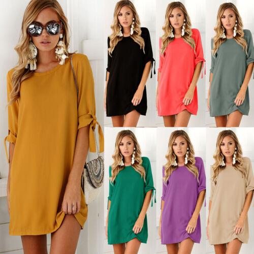 Übergröße Damen Vintage Minikleid Sommer Strand Tunika Hemdkleid Longshirt Baggy