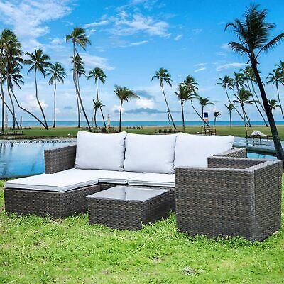 Garden Furniture - 5 Seater Patio Lounge Rattan Garden Furniture Set Chairs Table Outdoor & Cushion