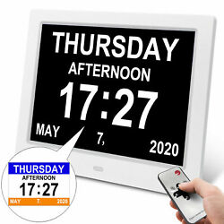 8 Large Digital Day Clock 8-Alarm Time Week Date Calendar Digital Photo Frame