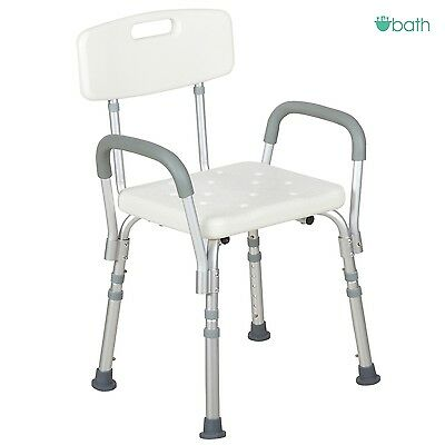 White Medical Bath Shower Chair Adjustable Bathtub Bench Stool Seat Armrest (Adjustable Bath Chair)