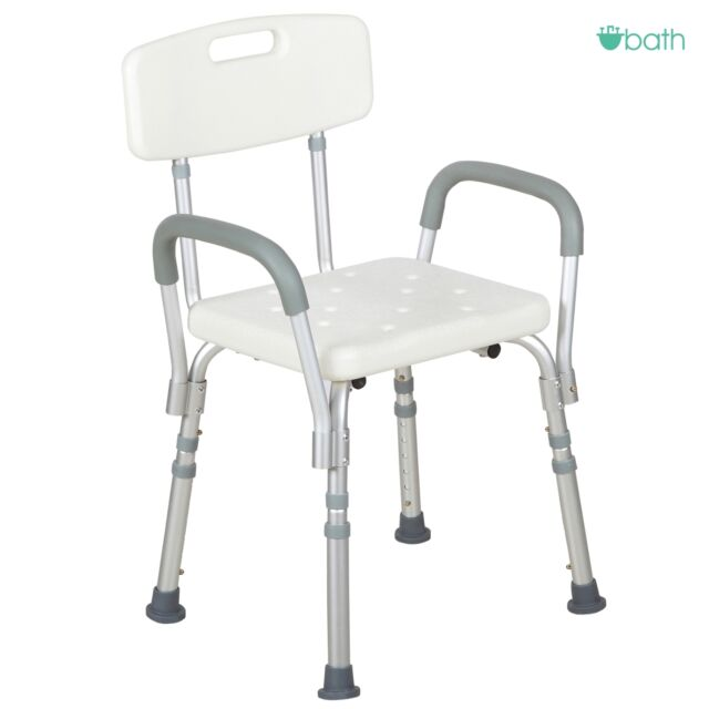 White Medical Bath Shower Chair Adjustable Bathtub Bench Stool Seat Armrest  Back