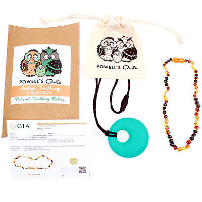 Amber Baby Necklace - Baltic Amber Gift Set Powell's Owls - Rainbow Wave Multi