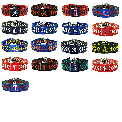 leather baseball bracelet team color gamewear MLB PICK YOUR - Gamewear Leather Wristband