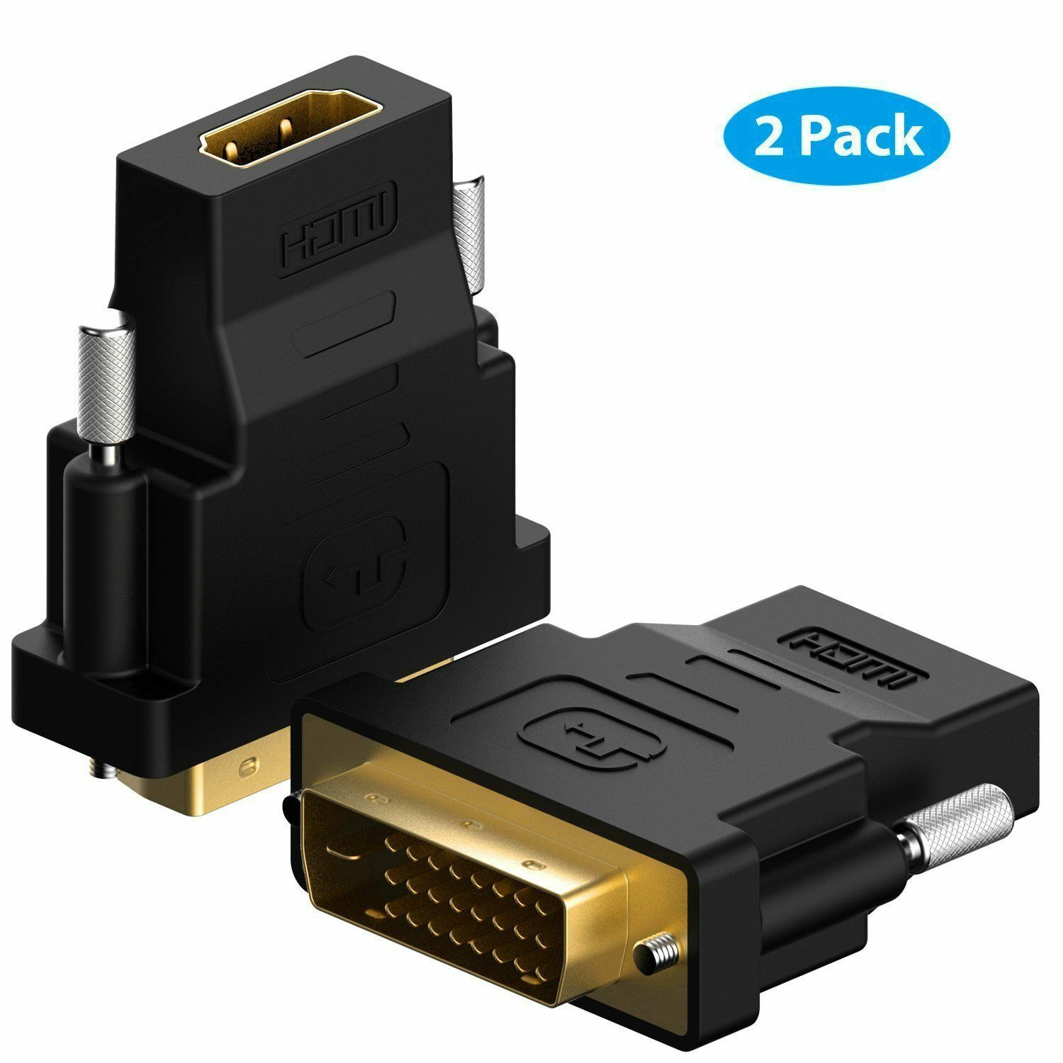 Rankie DVI to HDMI Adapter, 2-Pack Gold-Plated 1080P Male to