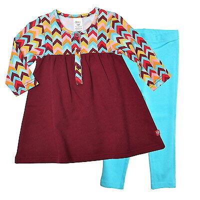 NWT ZUTANO GIRLS ZIG ZAG HENLEY DRESS & LEGGINGS SET 100% COTTON- Sz 2T - $54 ()