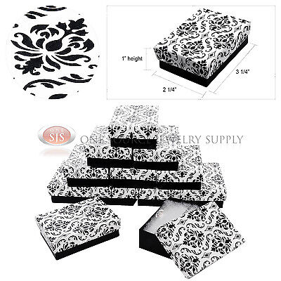 12 Damask Print Gift Jewelry Cotton Filled Boxes 3 14 X 2 14 X 1 Bracelets