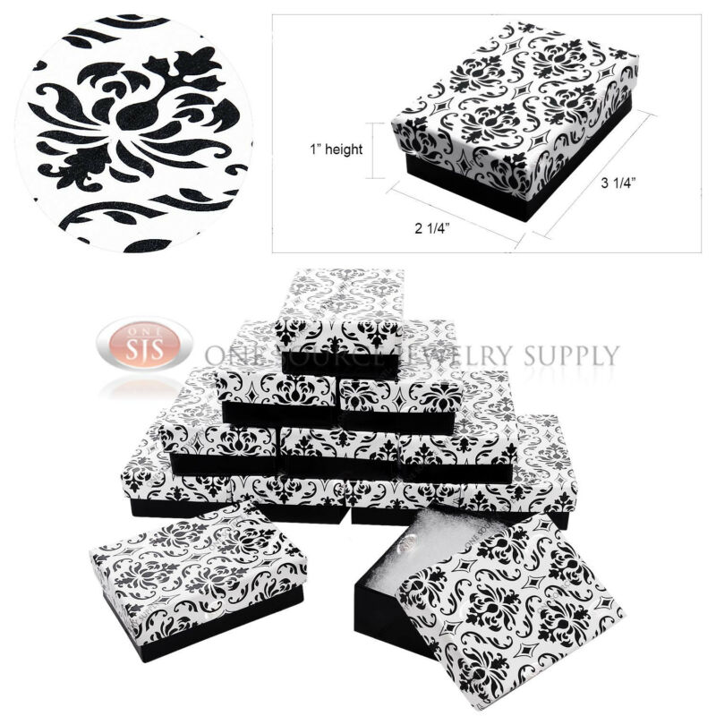"12 Damask Print Gift Jewelry Cotton Filled Boxes 3 1/4"" x 2 1/4"" x 1"" Bracelets"