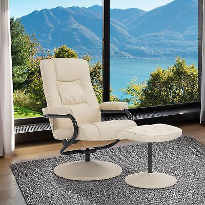 Homcom Contemporary Recliner Chair And Ottoman Set Swivel Armchair W Base Cream