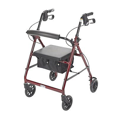 Drive Medical Rollator W/Fold Up & Removable Back Support & Padded Seat r726rd