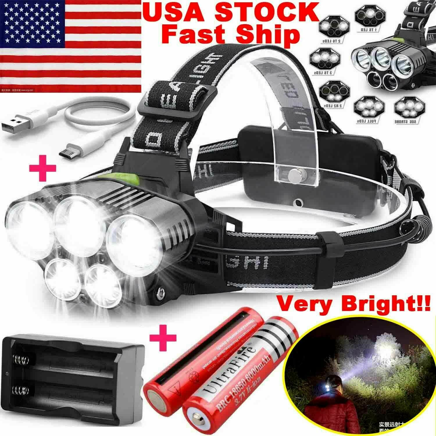 750000LM 5X T6 LED Headlamp Rechargeable Head Light Flashlight Torch Lamp USA Camping & Hiking