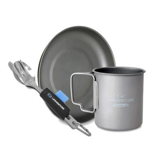 Lifeventure Titanium Mug, Plate & Cutlery Set