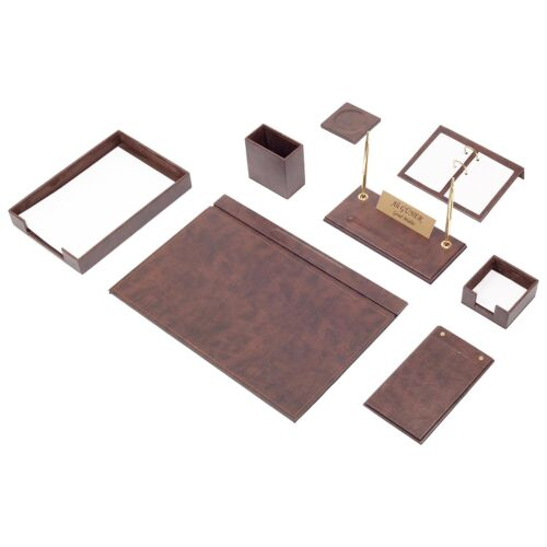 Leather Desk Set 10 Pieces with Single Document Tray Desk Organizer Brown