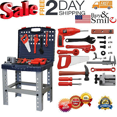 Children Work Bench Tool Set Kids Play DIY Tools Construction Toy Kit Workbench