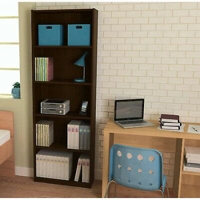Bookcase 5 Shelf Adjustable Bookshelf Wood Furniture Storage Shelving Book