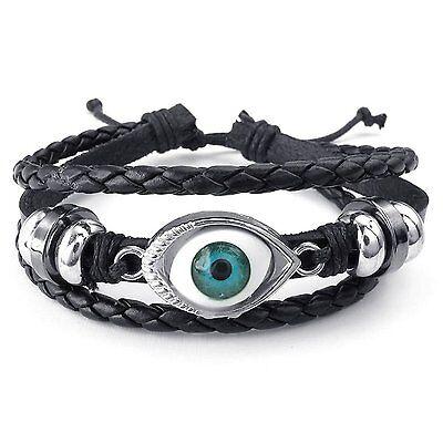 MENDINO Men's Women's Alloy Leather Bracelet Handmade Tribal Blue Evil Eye Cuff