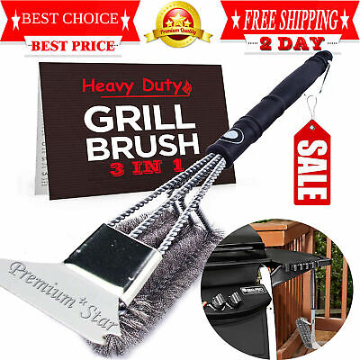 BBQ Grill Brush Scrubber Barbecue Cleaning Tool Stainless Steel Wire Cleaner NEW Clean Stainless Steel Bbq Grill