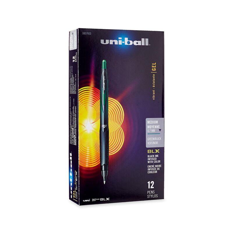 Uni-Ball Signo 207 BLX Retractable Gel Pen, Medium, Green/Black Ink, 12-Count