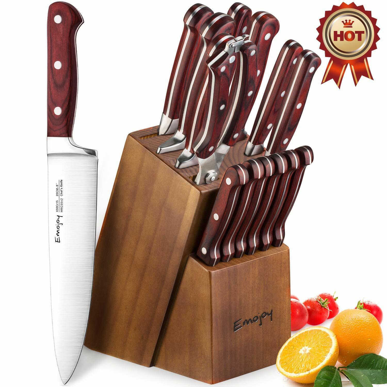 Knife Set, Wooden Handle 15-Piece Kitchen Knife Set with Blo
