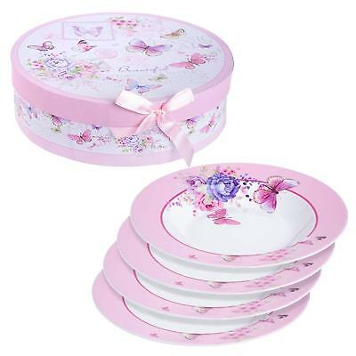 London Boutique Porcelain Fine China Soup Pasta Bowls Wide Rimmed Set 4 Gift Box 4 Fine China