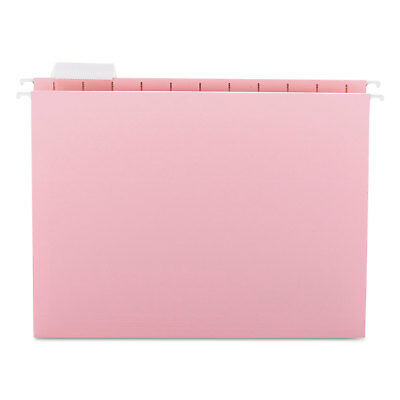 Smead Hanging File Folders 15 Tab 11 Point Stock Letter Pink 25box 64066