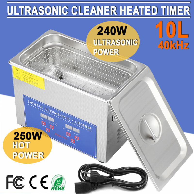 Stainless Steel 10L Industry Heated Ultrasonic Cleaner Industry Heater w/ Timer