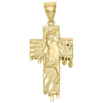 Genuine 10K Yellow Gold Diamond Cut Jesus Face Cross Charm Blood Drip Pendant - Genuine 10k Charm