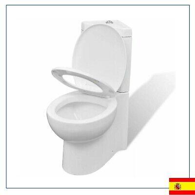 Inodoro WC Cierre Suave Doble Cisterna Cerámica Blanco Váter de doble descarga