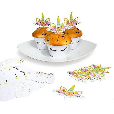 24 Einhorn Muffin Cupcake Topper Deko Set Kuchen