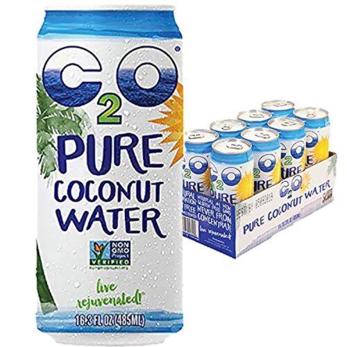 C2O Pure Coconut Water - Plant Based, Non-GMO, No Sugar 16.3 FL OZ (Pack of 8)