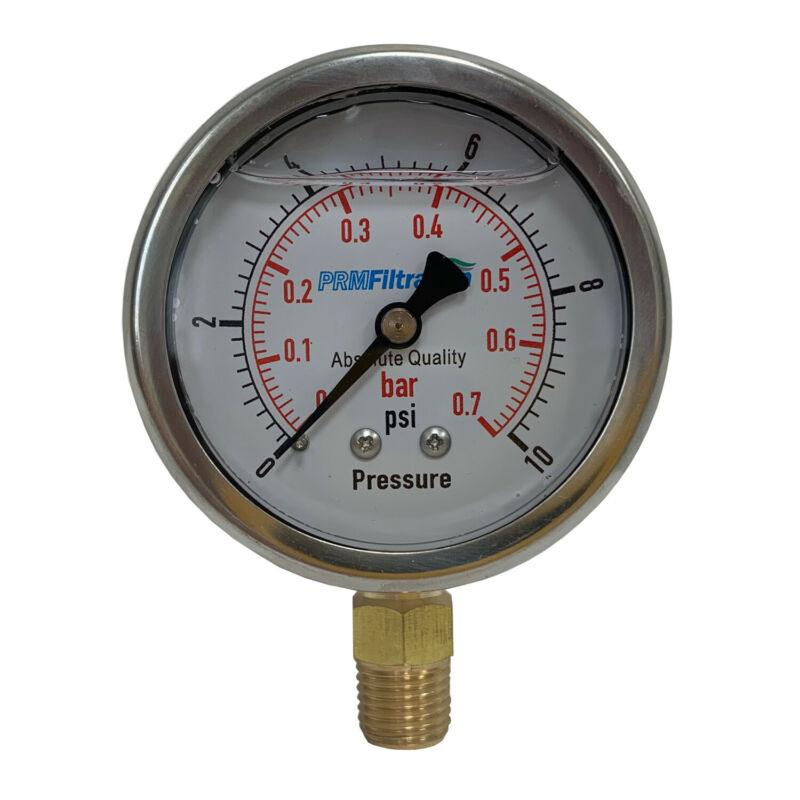 """Pressure Gauge PRM 0-10 PSI  2.5"""" SS Case 1⁄4"""" Brass NPT Bottom"""