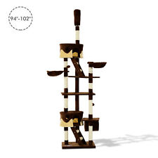 """PawHut 94""""-102"""" Huge Cat Tree Ceiling High Cat Condo Scratching Post Play House"""