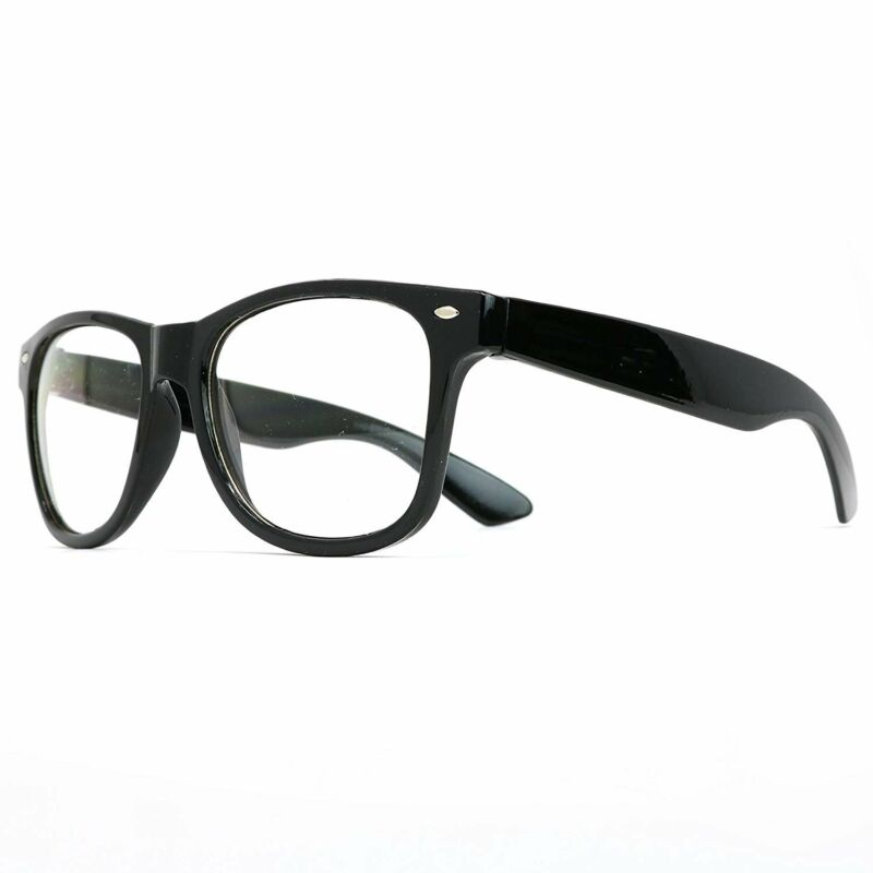 Skeleteen Retro Nerd Costume Glasses - Oversized Black Hipster Eyeglasses...