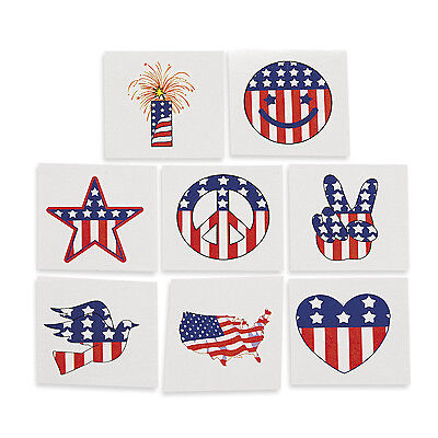 72 Patriotic Tattoos Loot Bag Filler FIREWORKS FLAG STAR PEACE SIGN DOVE USA for sale  Gilbert