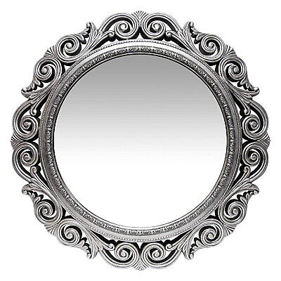 Infinity Instruments Antique Design Large 24-Inch Round Wall Mirror, Silver