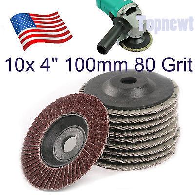 """10 Pc  4"""" 80 Grit Flap Disc Sanding Grinding Angel Grinder Wheel in US"""