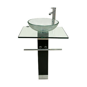 30 Bathroom Pedestal Vanity Glass Vessel Sink Set pedestal vanity | ebay