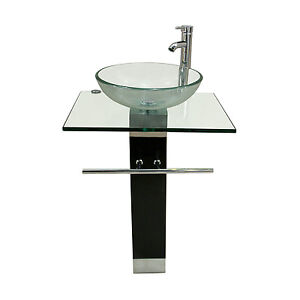 Bathroom Vanity Top Pedestal Tempered Glass Bowl Vessel Sink Combo With  Faucet