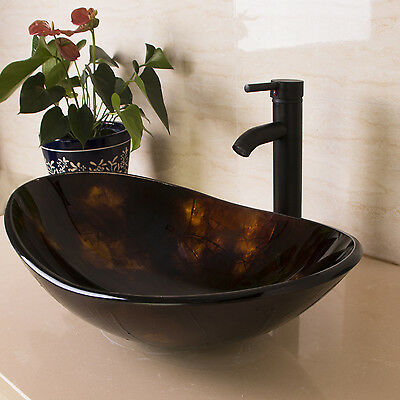 Oval Bathroom Tempered Glass Vessel Sink Vanity w/ORB Faucet&Pop-up Drain Combo