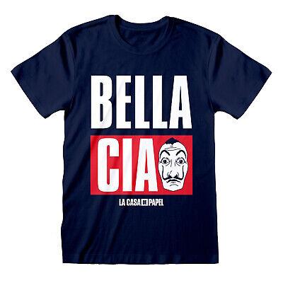 La Casa De Papel Bella Ciao Salvador Dali Mask Money Heist Men Blue T-shirt