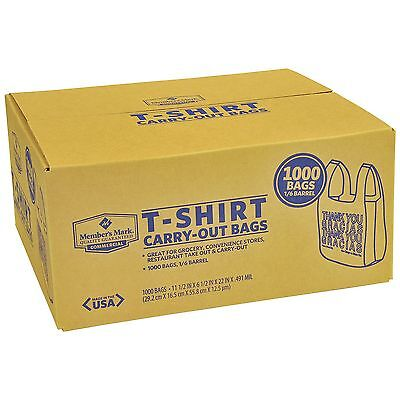 Plastic Grocery Store Shopping Carry Out T-shirt Thank You Bag 1000ct Recyclable