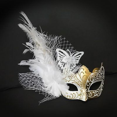Gold & White Beautiful Inspired Butterfly Women Masquerade Mask with feather - Masquerade Mask With Feathers