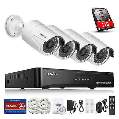 SANNCE 4CH NVR 960P PoE IP Network CCTV Surveillance Security Camera System 1TB