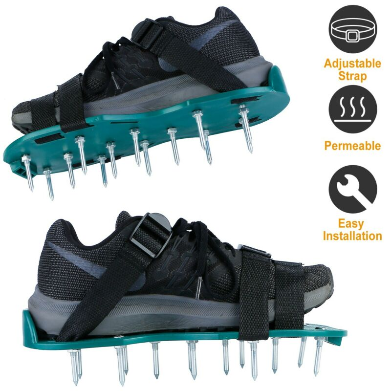 Pair Lawn Aerator Shoes Sandals Grass Aerating Spikes Yard Sod Garden Tool