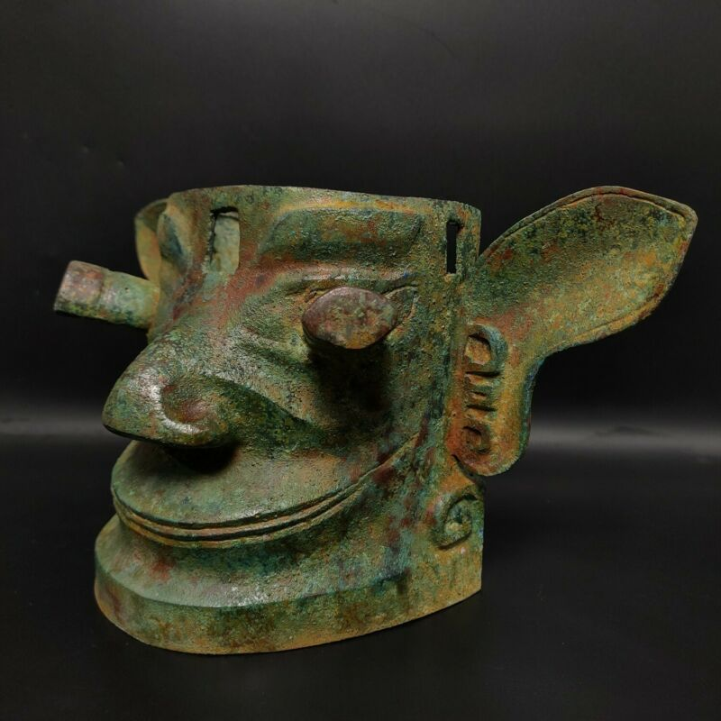 "11.8"" Chinese Rare Old bronze hand-made Sanxingdui mask 三星堆面具"