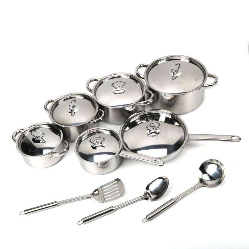 15 Pieces Stainless Steel Cookware Set Pots Sauce Pans Fryin