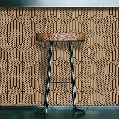 RoomMates Gold and Black Stripped Hexagon Peel and Stick Wallpaper Roommates Peel And Stick